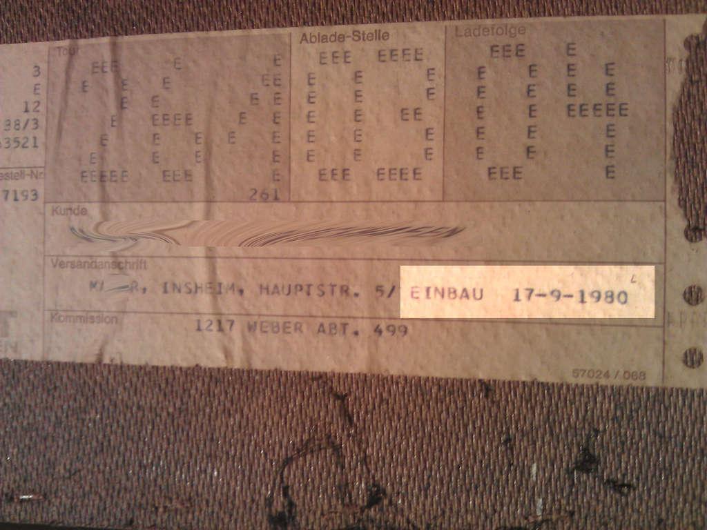 Einbau: 17-9-1980