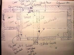 Handskizze: Mauern und Flächen in der Küche