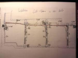 Skizze: Installation Licht+Strom in der Halle