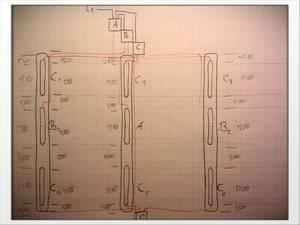 Kabelführung zwischen Wechselschaltungsverteilern A-C und Leuchtstofflampen A-C