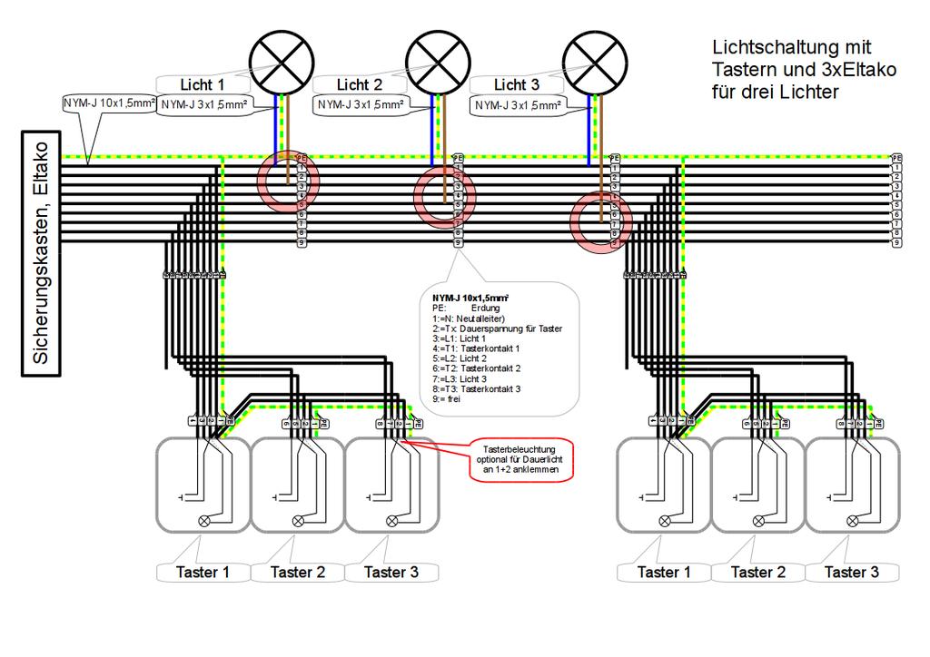 Eltakoschaltung für 3 Lampen/Gruppen) mit mehreren Tasterblöcken