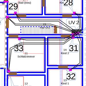 Sternförmige Verlegung der Leitungen ab UV2 im Dachboden