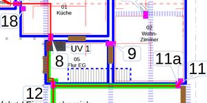 Lageplan: Zuleitung zur UV2 via Küche, Flur und Hofeinfahrt (V11)