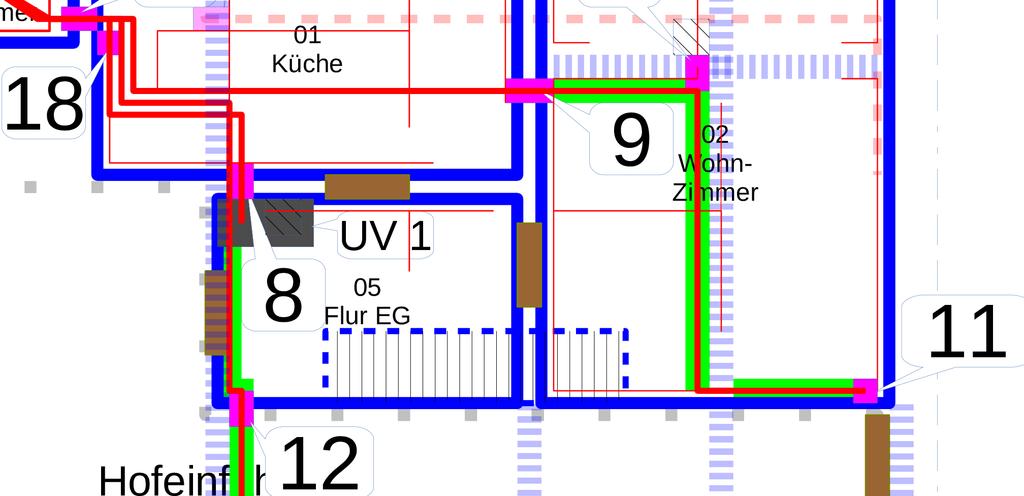 Lageplan: Zuleitung zur UV2 nun doch via Küche und Wohnzimmer (in der Zwischendecke und platzsparend im Kabelkanal)