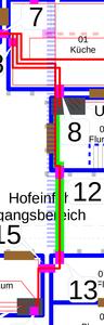 Zuleitung zur UV3 via Küche, Flur (EG), Hofeinfahrt, Flur (Hauswirtschaft), Waschraum.