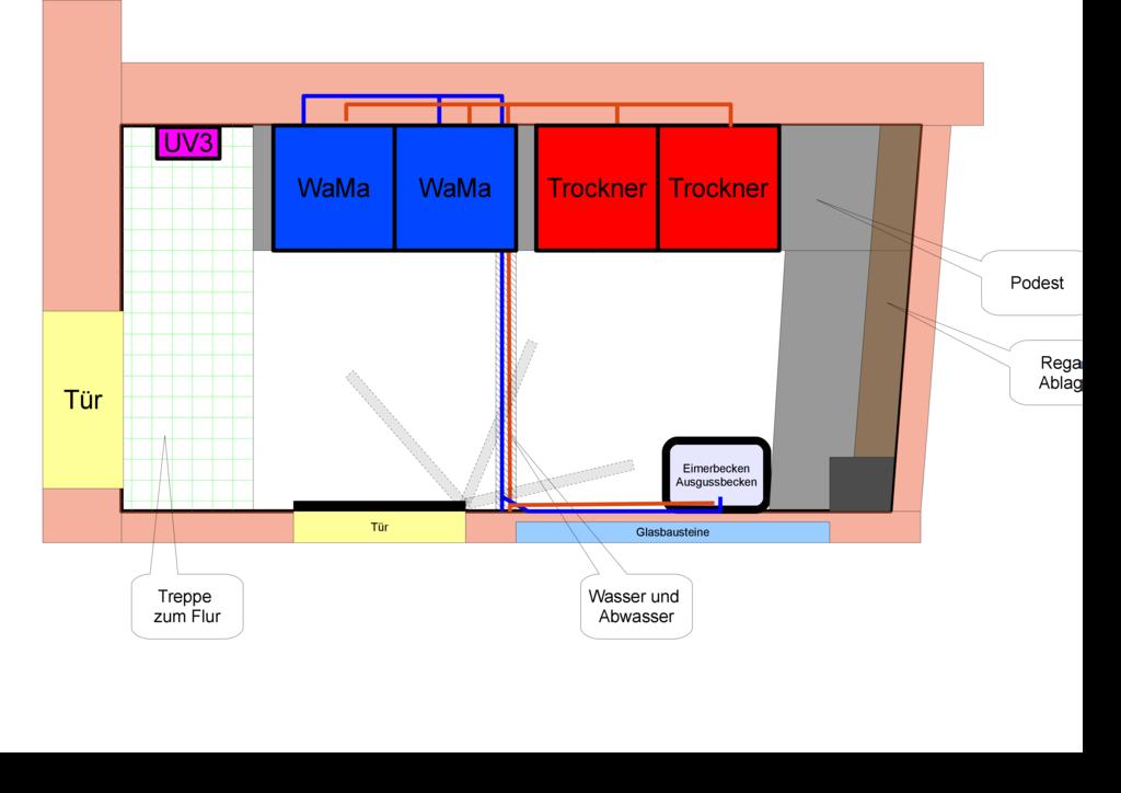 Skizze Waschraum mit 2 Waschmaschinen und 2 Wäschetrockner