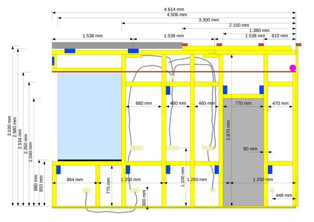 Konstruktionsplan für die Holzständerwand mit Steckdosen