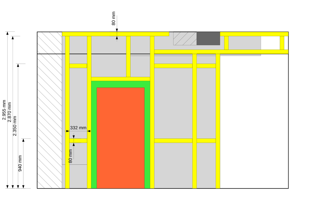 Skizze und Plan für die Westwand in der Küche. Links der Kamin, mittig die Tür, rechts das Fenster
