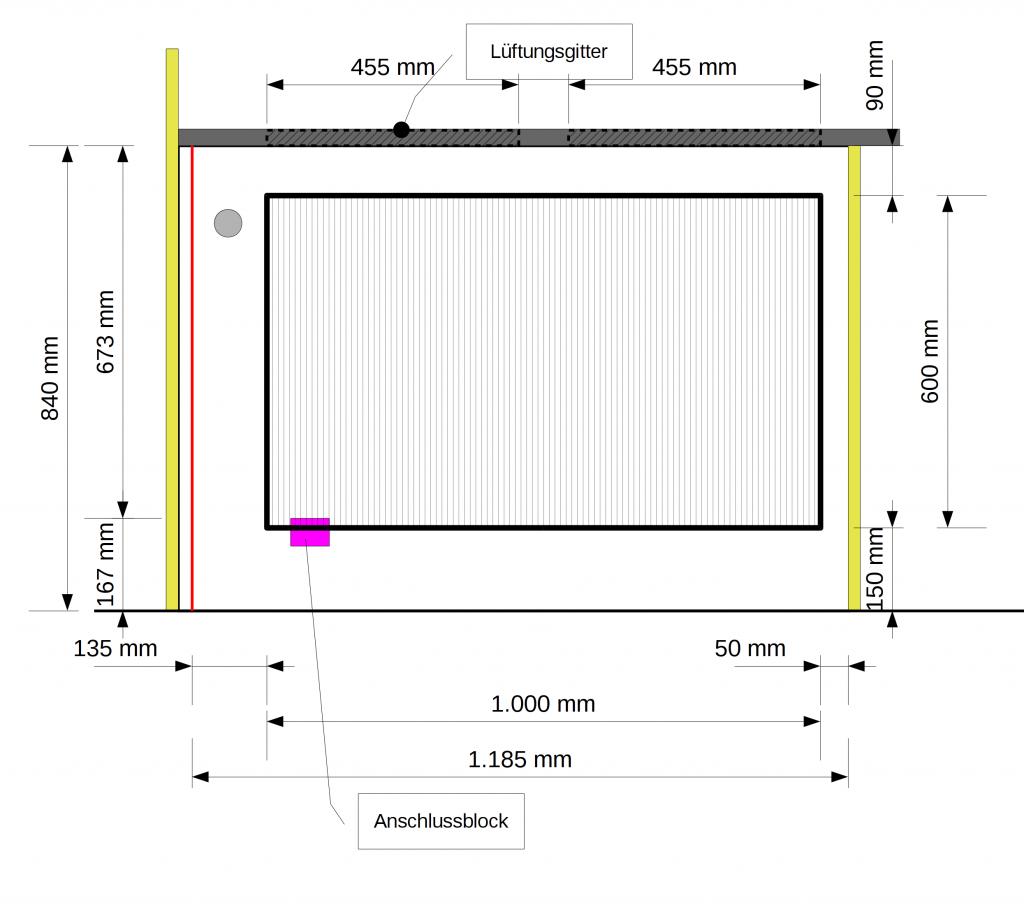 Seitenansicht Heizkörper 600×1000mm in der Nische