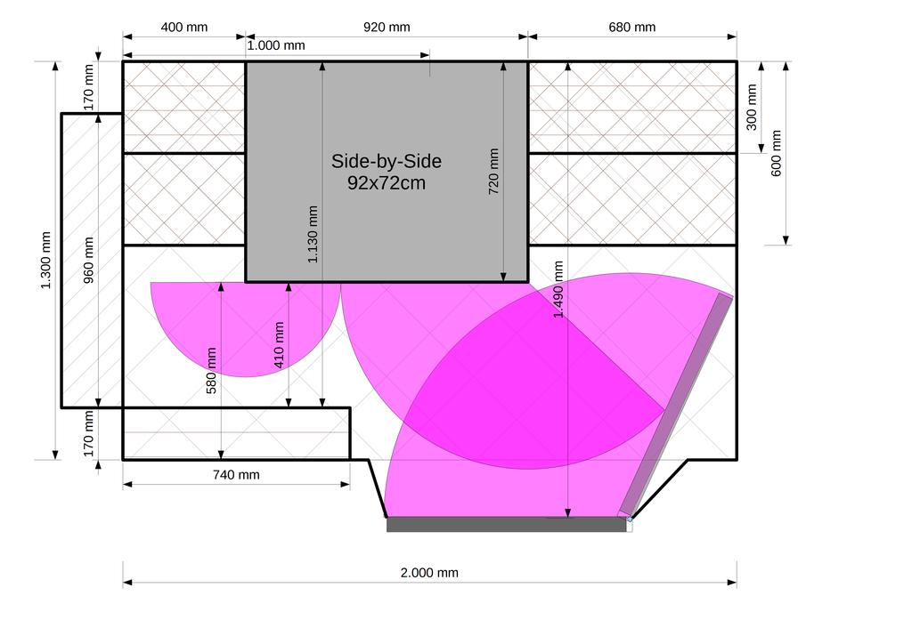 Entwurf 1: Side-by-Side Gerät in der Vorratskammer