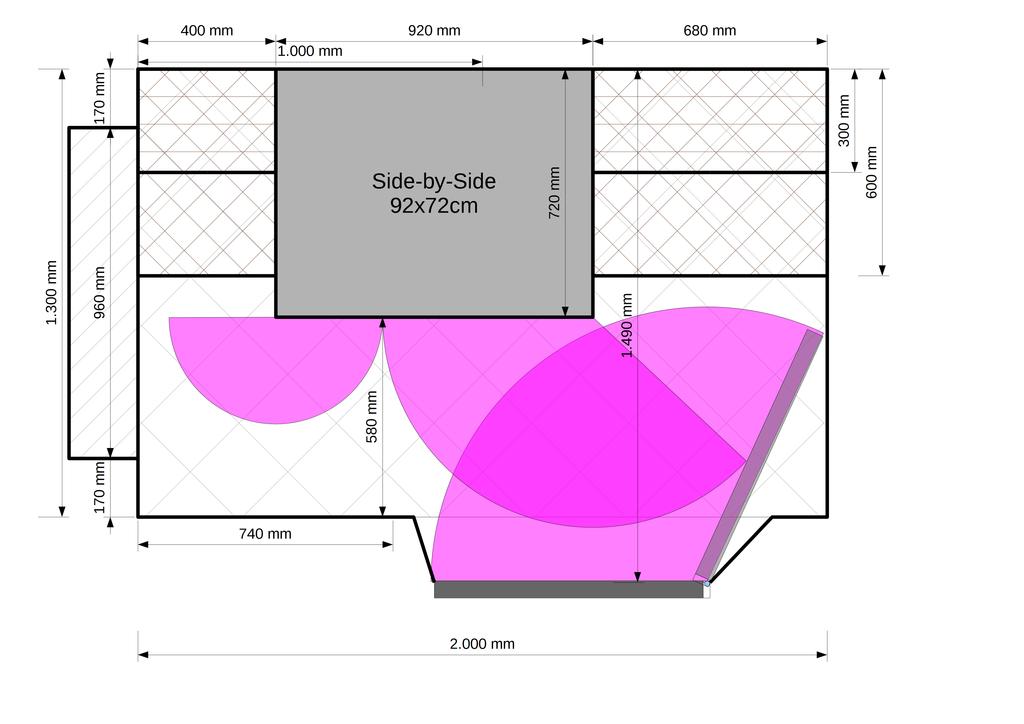 Entwurf 2: Side-by-Side Gerät in der Vorratskammer, Regal links unten entfernt.